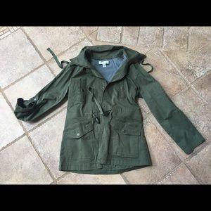 Army Green Cinch Waist Jacket